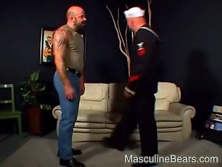 Beefy military bears swallow cock
