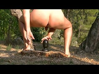 Anal!! big buttplug in my ass outdoor