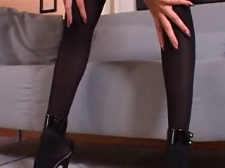 Long Legged Brunette Stockings, Heels Fetish Foot Job