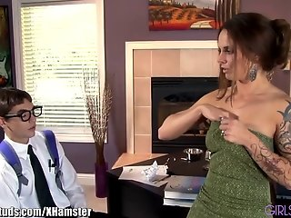 GirlsAndStuds Sexy MILF Teaches Nerdy Boy to Fuck