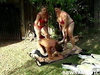 BBW dominatrices Lenka and Leny fuck their skinny slave