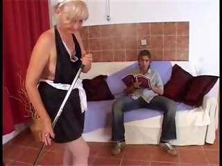 Hot young dude fucks an old granny