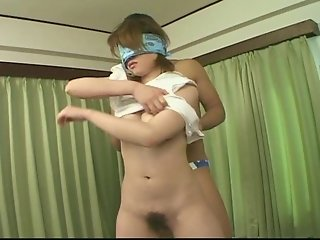 Chinese girl fucks blindfolded