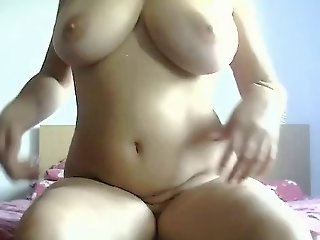 Young chubby girl with great tits fingers pussy