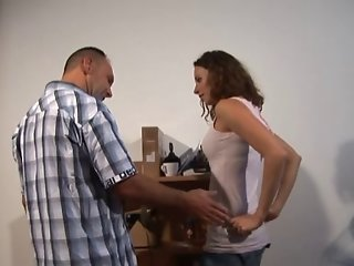Teen screwed on floor by a guy with a monstrous big fat cock