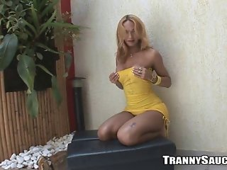 Blonde tranny strips and teases like a whore