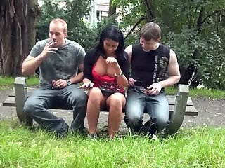 Risky threesome at a public park! AWESOME!
