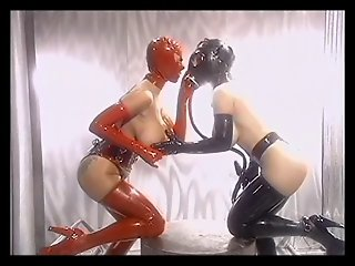 Hot masked lesbian enjoys the fun