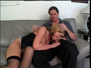 Sexy young blonde slut gets drilled in mouth and anus by two big dicks