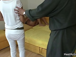 Girlfriend sucks and rides her BF's dad cock