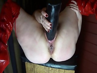 Huge Black Toy in Swollen Pussy