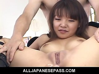 Saki Ogasawaras tight ass filled with rubber