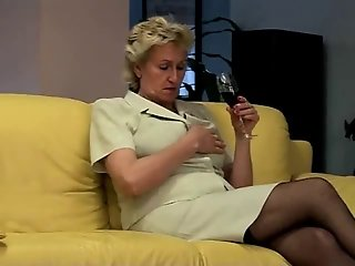 Blonde Granny Takes Care of Her Hairy Pussy by TROC
