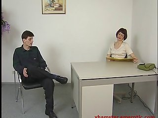 Fucking female boss in a job interview in the office