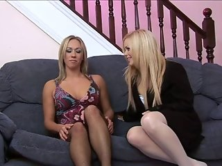 British slut Alicia Rhodes in a FFM threesome in stockings