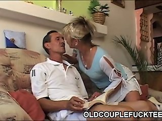 Sexy maid shares old cock