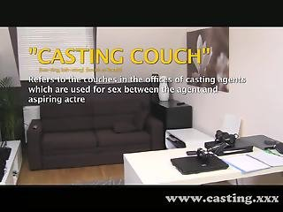 Casting - Auburn beauty gets coated with cum
