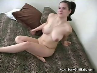 Hot babe with huge nice tits enjoys licking balls