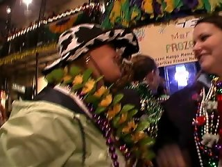 Mardi gras flasher has friend hide her face