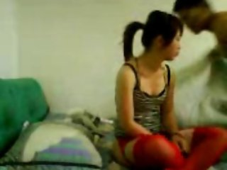 Amateur Chinese Red Tights Sex