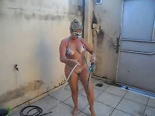 Tirando o sal - naked wife after beach -hot blondie