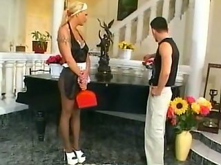 Tall maid in pantyhose gets nailed