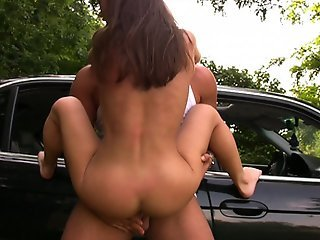 Horny european gets fucked by two, on a car hood